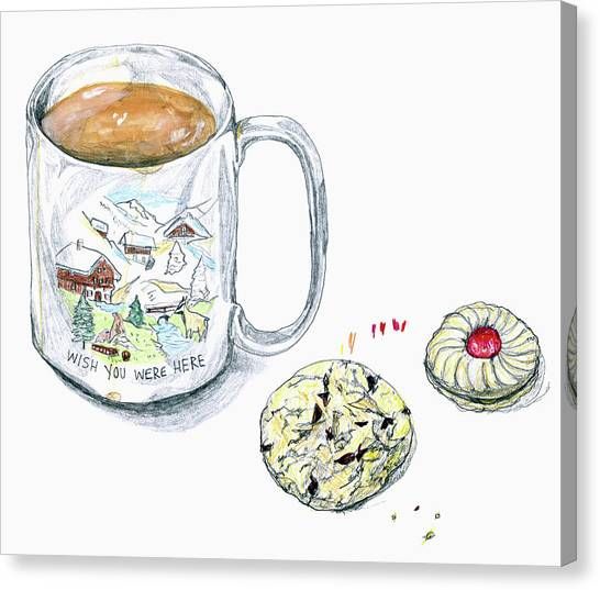 Sweet Tea Canvas Print - Coffee Mug And Cookie by Ikon Ikon Images