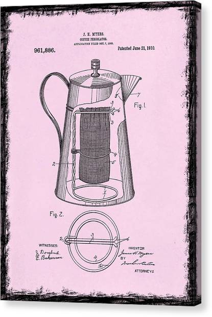 Coffee Plant Canvas Print - Coffee Percolator Patent 1910 by Mark Rogan