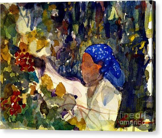 Coffee Plant Canvas Print - Coffee Picker by Sandra Stone
