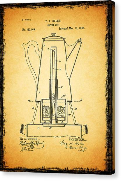 Coffee Plant Canvas Print - Coffee Pot Patent 1885 by Mark Rogan