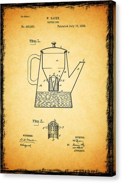 Coffee Plant Canvas Print - Coffee Pot Patent 1888 by Mark Rogan