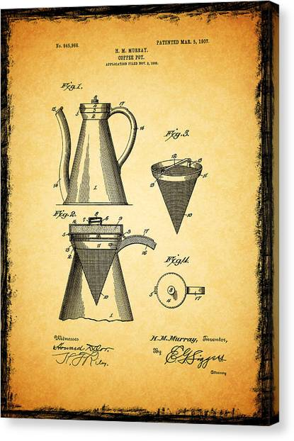Coffee Plant Canvas Print - Coffee Pot Patent 1907 by Mark Rogan