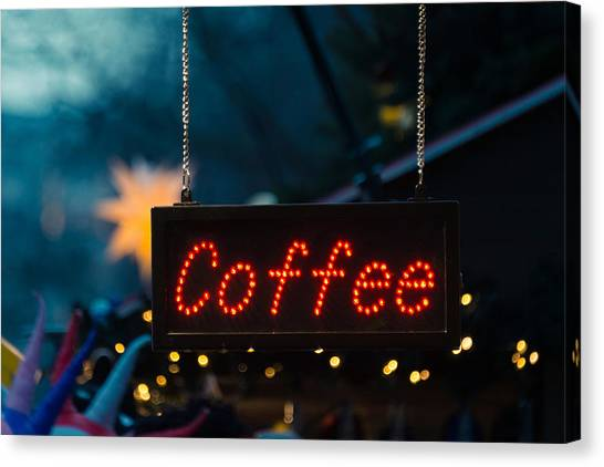 Beverage Canvas Print - Coffee Sign by Dutourdumonde Photography