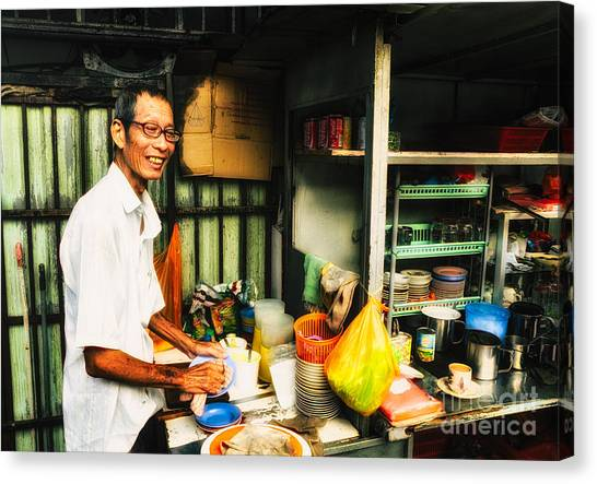 Coffee Vendor On South East Asian Street Stall Canvas Print