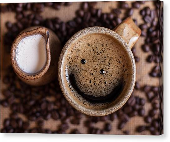 Coffee Beans Canvas Print - Coffee With A Smile by Aaron Aldrich