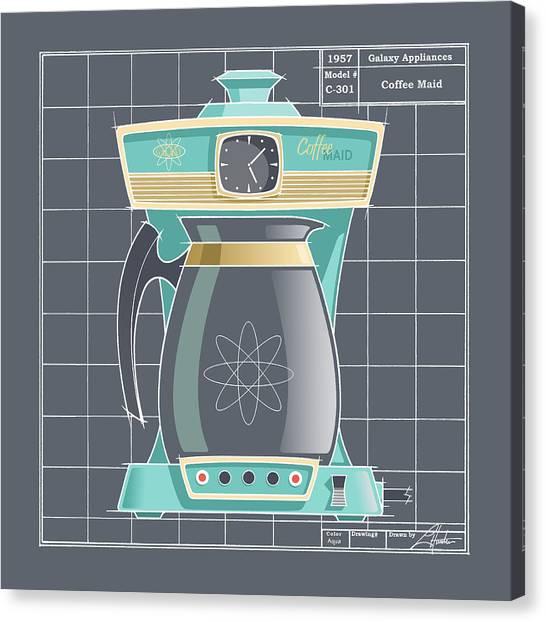 Coffeemaid -aqua Canvas Print