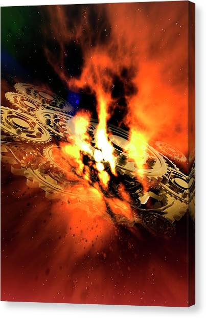 Cogs And Flames Canvas Print by Victor Habbick Visions/science Photo Library