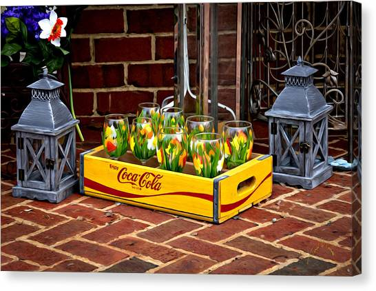 Canvas Print featuring the photograph Coke And Daffodils by Williams-Cairns Photography LLC