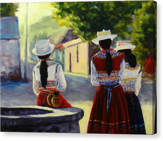 Colca Valley Ladies, Peru Impression Canvas Print