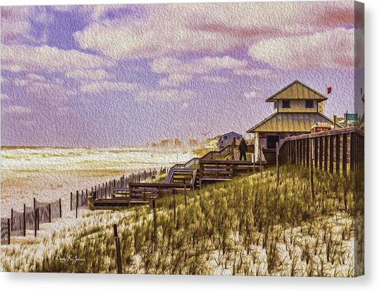 Waterfront - Coastal - Cold And Windy At The Beach Canvas Print by Barry Jones