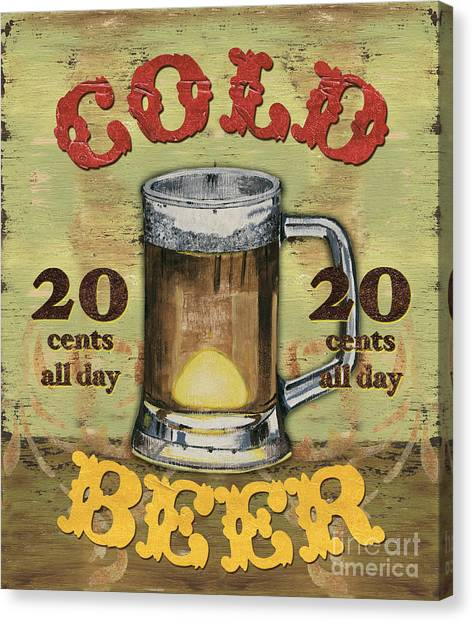 Pub Canvas Print - Cold Beer by Debbie DeWitt