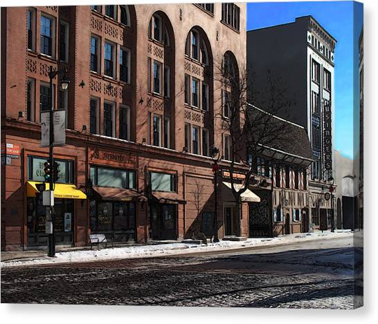 Cold Clear Morning On Old World 3rd Street In Milwaukee Wisconsin Canvas Print by David Blank