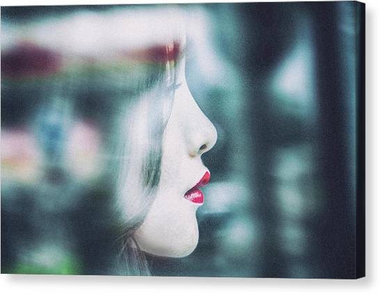 Lips Canvas Print - Cold Colorful Girl by