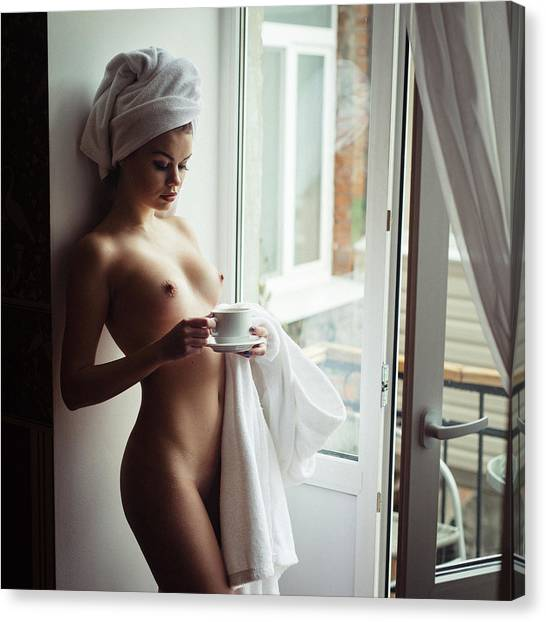 Fine Art Nudes Canvas Print - Cold Morning And Hot Coffee by Elizaveta Shaburova