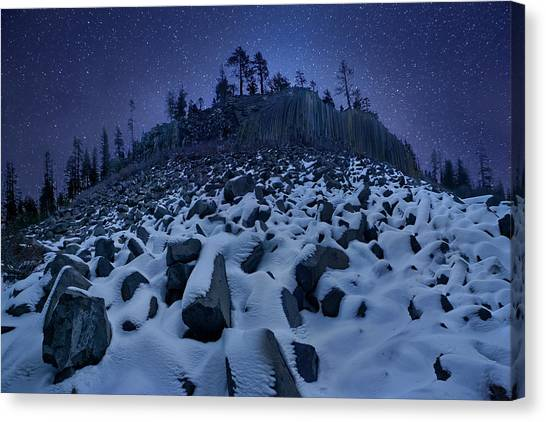 Winter Sky Canvas Print - Cold Mountain: Devils Postpile by Yan Zhang
