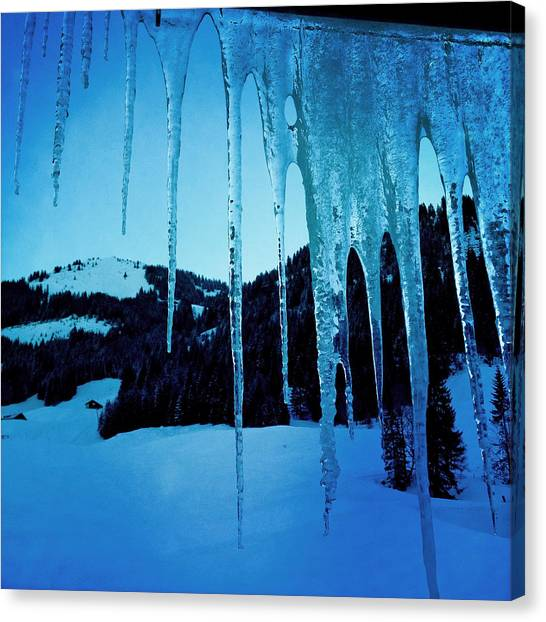 Snow Canvas Print - Cold Outside - Icicles In Winter by Matthias Hauser