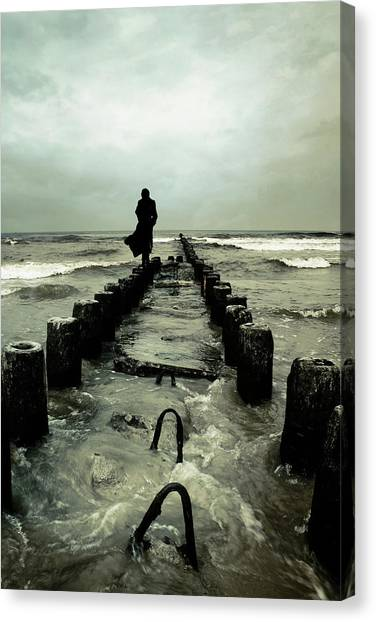 Wet Canvas Print - Cold Waves by Cambion Art