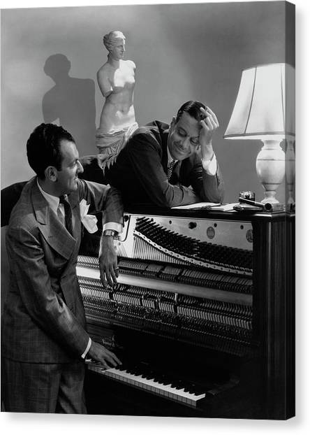 Electronic Instruments Canvas Print - Cole Porter And Moss Hart At A Piano by Lusha Nelson