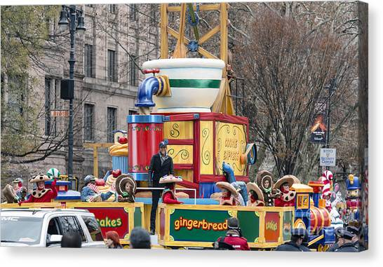 Macys Parade Canvas Print - Cole Swindell On Domino Sugar Float At Macy's Thanksgiving Day Parade by David Oppenheimer