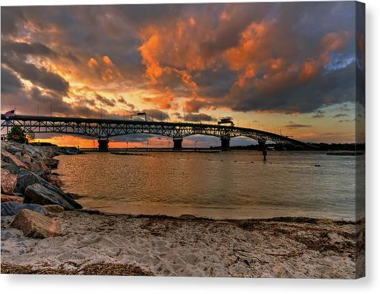 Coleman Bridge At Sunset Canvas Print