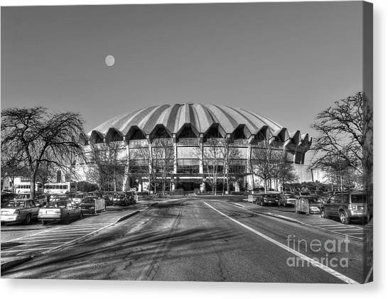 Coliseum B W With Moon Canvas Print