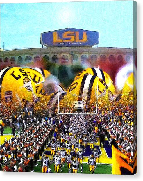 Louisiana State University Lsu Canvas Print - Collage Lsu Tigers by John Farr