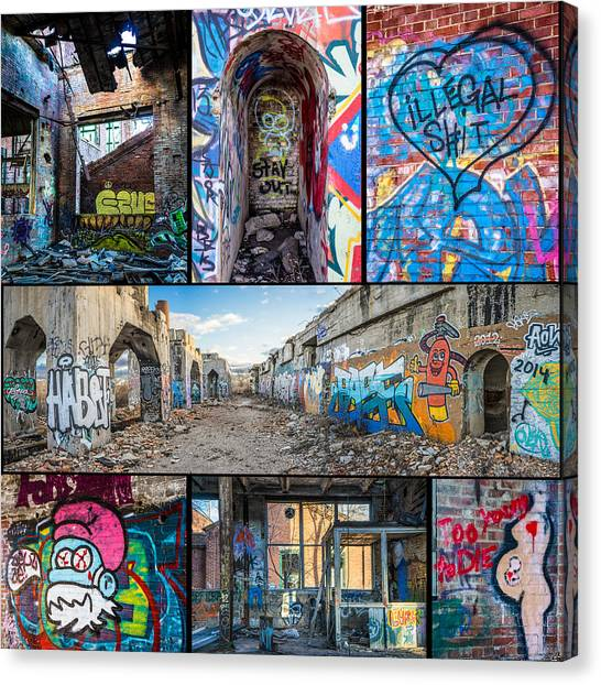 Canvas Print featuring the photograph Collage Of Graffiti by Steven Santamour