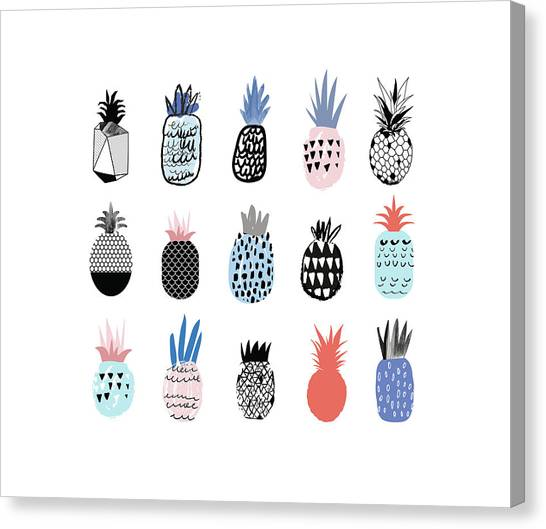 Collection Of Cute Pineapples With Canvas Print by Loliputa
