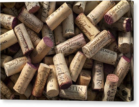 Wine Art Canvas Print - Collection Of Fine Wine Corks by Adam Romanowicz