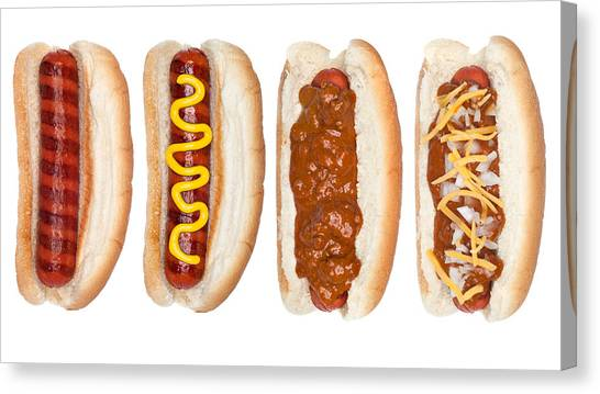 Collection Of Hotdogs Canvas Print