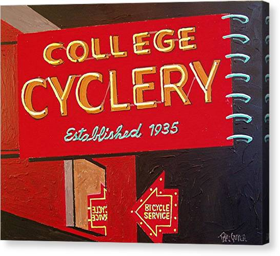 College Cyclery Canvas Print by Paul Guyer