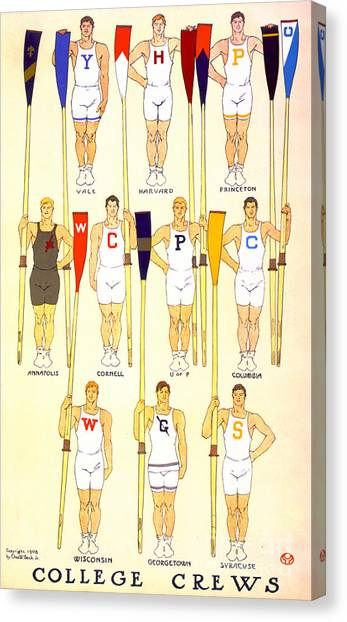 Cornell University Canvas Print - College Rowing Crews 1908 by Padre Art