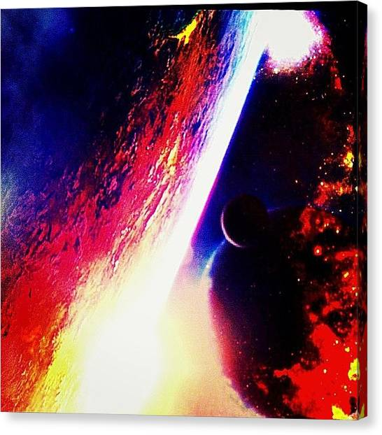 Ufos Canvas Print - Colliding Moons by Urbane Alien