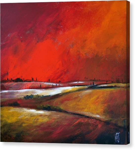 Colline Sotto Il Cielo Infuocato Canvas Print by Alessandro Andreuccetti