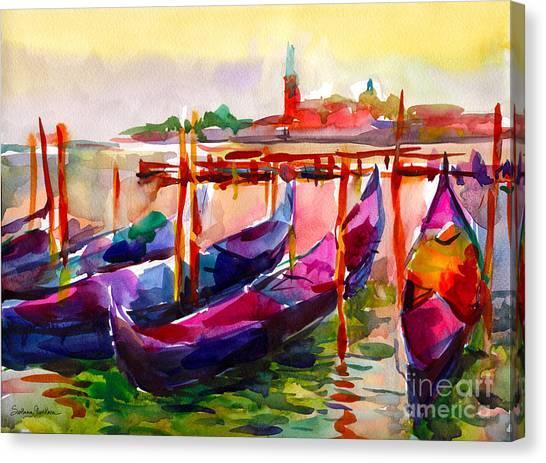 Canvas Print - Coloful Venice Boats Painting by Svetlana Novikova