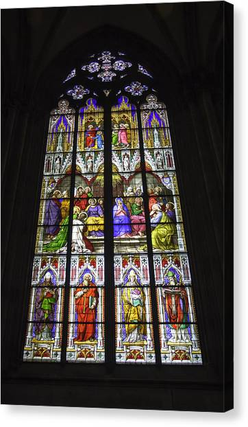 Cologne Cathedral Stained Glass Window Of Pentecost Canvas Print
