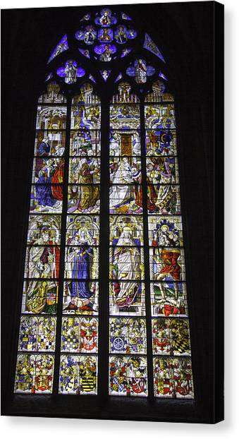Cologne Cathedral Stained Glass Window Of The Three Holy Kings Canvas Print