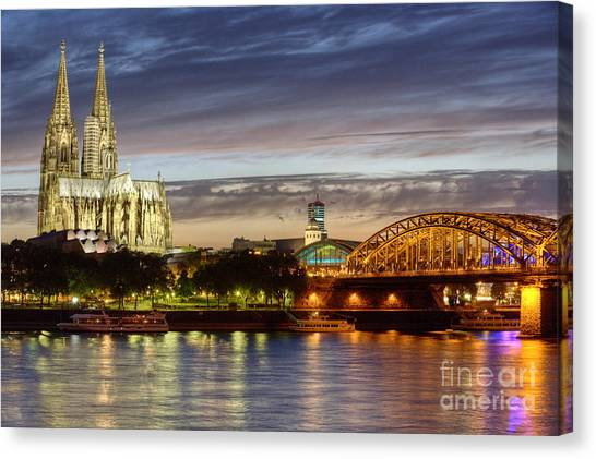 Cologne Cathedral With Rhine Riverside Canvas Print
