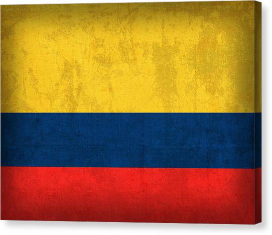 Colombian Canvas Print - Colombia Flag Vintage Distressed Finish by Design Turnpike