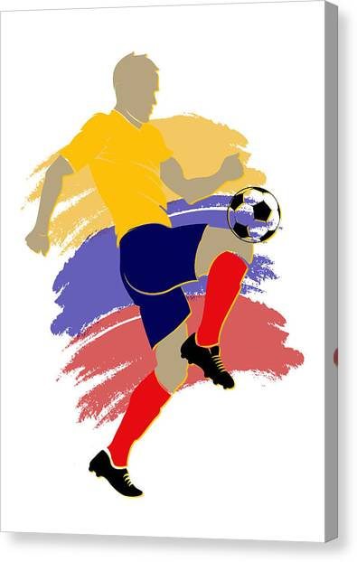 World Cup Canvas Print - Colombia Soccer Player by Joe Hamilton