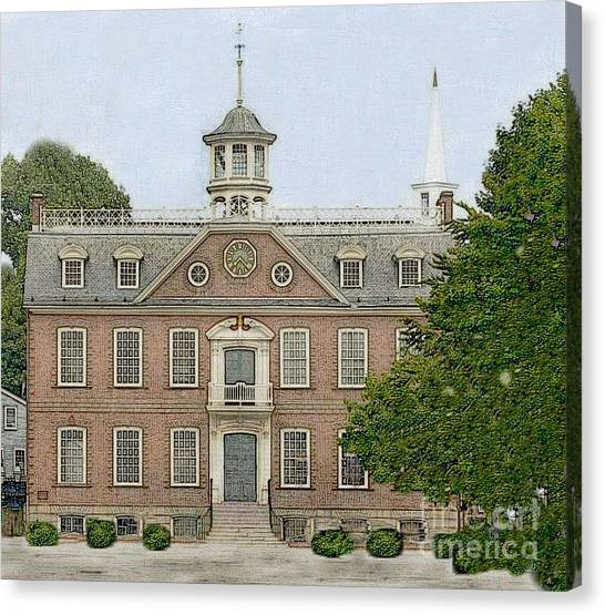Colonial Court House Newport Rhode Island Canvas Print by Diane E Berry