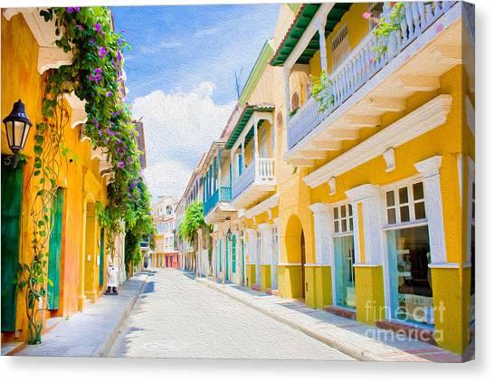 Colonial Street - Cartagena De Indias Canvas Print