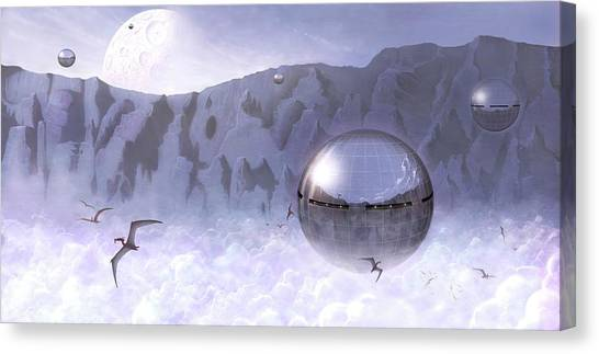 Pterodactyls Canvas Print - Colonisation Of Alien World by Mark Garlick