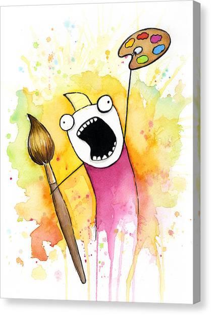 Cartoon Canvas Print - Color All The Water by Olga Shvartsur