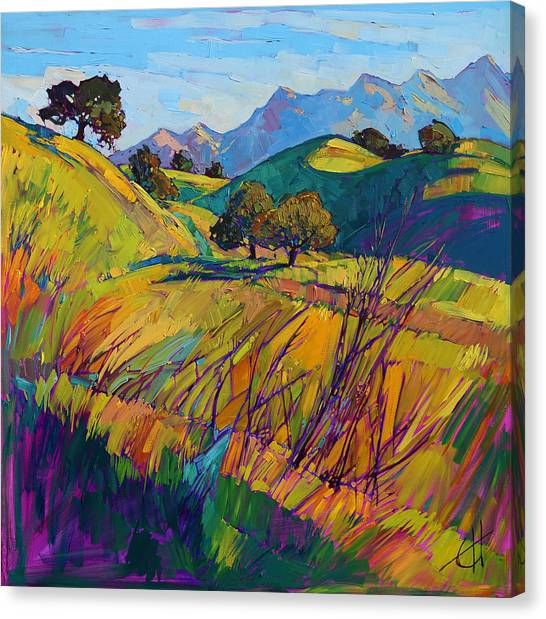 Rolling Hills Canvas Print - Color Curves by Erin Hanson