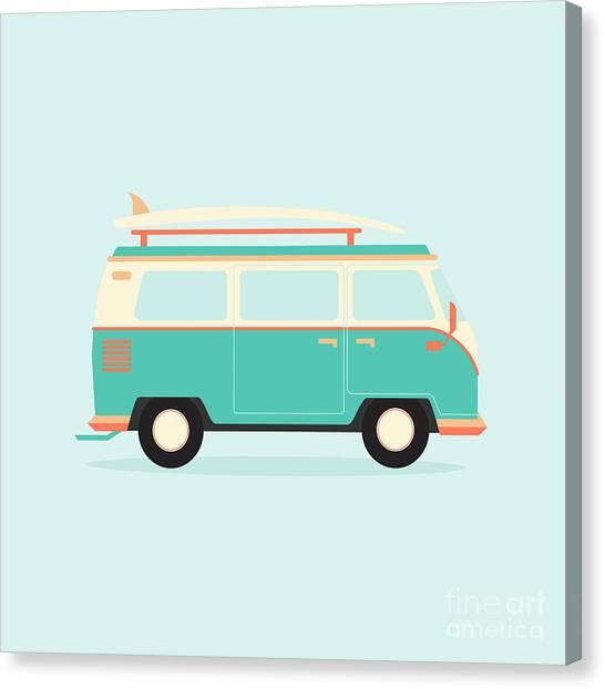 Fun Canvas Print - Color Full Surfer Van. Transportation by Guaxinim