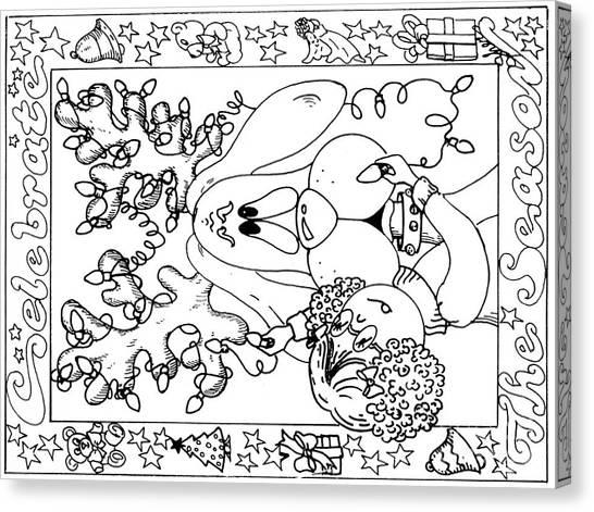 Color Me Card - Christmas Canvas Print