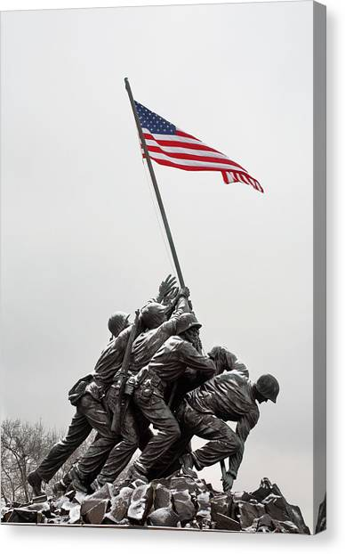 American Flag Canvas Print - Color On A Grey Day by JC Findley