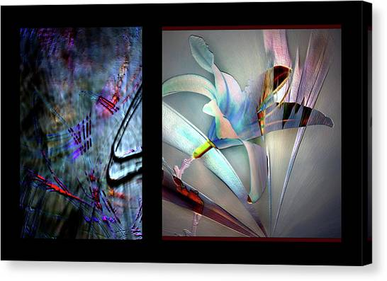 Color Palete Of A Pink And Blue Lily Canvas Print