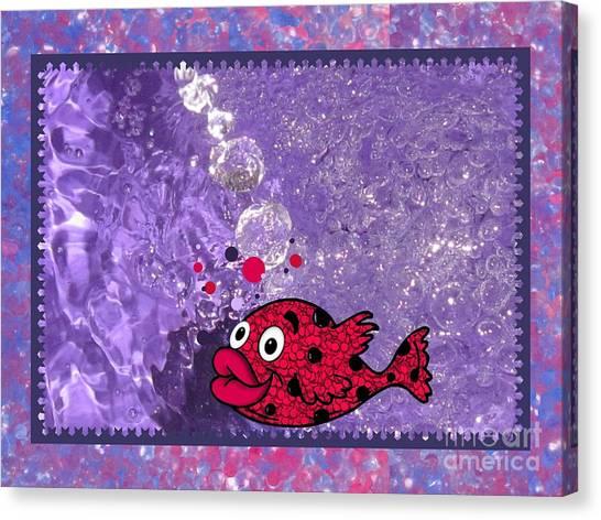 Color Your World Kids Bath Fish Canvas Print